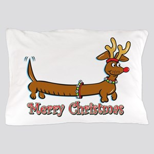 Merry Christmas Dachshund Pillow Case